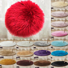 Small Round Fluffy Rugs Anti-Skid Shaggy Area Rug Bedroom Home Floor Mat Carpet