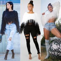 Women Fall&Winter Long Sleeve Fashion Tassels Short Sweater Casual Club Tops
