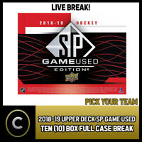 2018-19 UPPER DECK SP GAME USED 10 BOX FULL CASE BREAK #H250 - PICK YOUR TEAM -