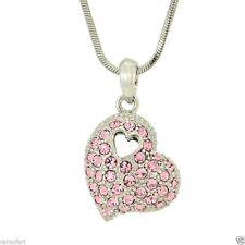 "Heart Pink W Swarovski Crystal Love 18"" Chain Necklace Jewelry Gift"