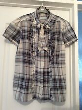 New NEXT Blue & Cream Check Short Sleeve Hip Length Cotton Top Size 14