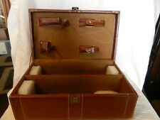 Double Wine Bottle Travel Box Brown Faux Leather with handle