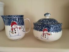Thomson Snowman Cream and Sugar Bowl with Lid
