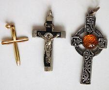 3 vintage cross pendants Crucifix Celtic One handmade Christian jewellery