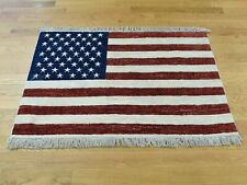 """2'7""""x3'10"""" Hand-Knotted Peshawar American Flag Wall Hanging Rug R36456"""