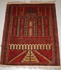 OLD TRADITIONAL AFGHAN KIZIL AYAK MOSQUE PRAYER RUG, CIRCA 1920.