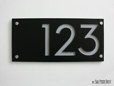 Modern House Numbers,Rectangle Black & Gray Acrylic - Sign Plaque - Door Number