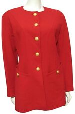 Escada Red Blazer Jacket Women US 10 100% Wool M Gold Crest Button Germany 40