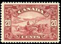 Canada #157 mint F-VF OG NH 1929 Harvesting Wheat 20c dark carmine CV$122.50