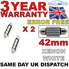 2 X 42mm 3 SMD LED 239 272 C5W CANBUS NO ERROR INTERIOR LIGHT FESTOON BULB WHITE
