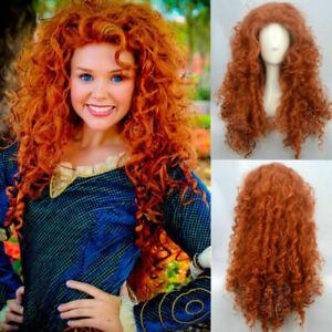 Movie Wig Brave Merida Long Curly Orange Cosplay Wigs