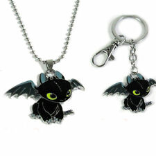 2pcs How To Train Your Dragon 2 Toothless Night Fury Animal Necklace keychain
