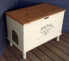 Storage Bench Cat Litter Box Chest Solid Wood Vintage Farmhouse Style