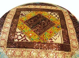 """33% OFF 40"""" RED EXOTIC BEADED SARI KUNDAN COUCH THROW FLOOR CUSHION PILLOW COVER"""