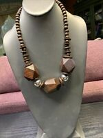 Ladies Vintage Bohemian Light Weight  Brown Wood Silver  Beaded Necklace  22""