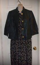 Spiegel Size Medium/Small Green Leather w/Gold Crest Buttons Women's  Jacket