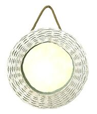 Country Style White Painted Wicker Rope Bedroom Hall Wall Hanging Round Mirror