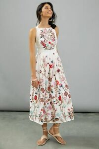 Anthropologie Eularia Embroidered White Cross Back Maxi Dress UK 12 RRP £220