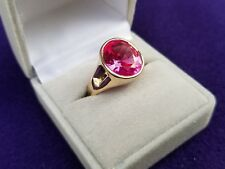 Womens Mens Solid 14k Gold Pink Sapphire Ring made in USA size 8