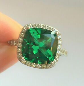 Emerald Ring 5ct Halo Cushion Created Emerald Engagement Anniversary Ring silver