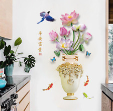 Vase Flower Lotus Tree DIY Wall Stickers Decal Home Decor Wallpapers Mural Art
