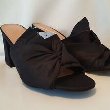 Women's Black Knotted Slide On Block Heel Mules NWT Size 6