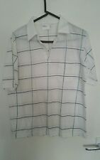 """BHS white polycotton with black/green checked lines mens polo t shirt Size 42"""""""