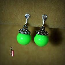 orecchini Clip Perla Verde Cristallo Retrò Originale Sera Matrimonio F2