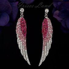 Rhodium Plated Fuchsia Crystal Rhinestone Chandelier Drop Dangle Earrings 08761