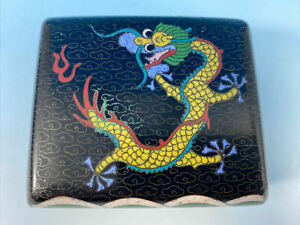 Antique Vintage Chinese Cloisonné&Brass Lidded Footed Trinket Box.