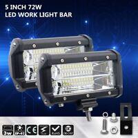 2x 5 Inch 72W Philips LED Work Light Car Flood Bar Offroad Fog Lamp 4WD Jeep SUV