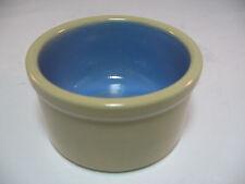 New listing Crock Cat Dog Bowl Dish Pottery Tan Blue 4 inch