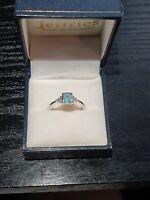 9ct White Gold Aquamarine and Diamond Ring 💍 Size M - Ernest Jones RRP £699