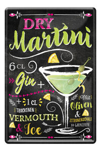 Dry Martini Gin Cocktail Zutaten Rezept Retro Deko Bar Blechschild 20x30cm A0593