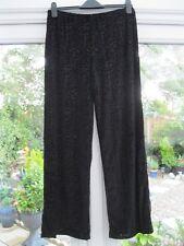 Michele Hope Stretch Jersey Velour Burnout Wide Leg Trousers Black 10/12 BNWT