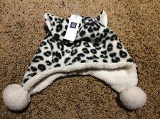Nwt Baby Gap Girls Snow Leopard  S/m 2t 3t Winter Hat Pom Poms