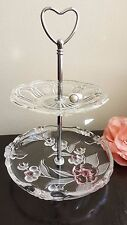 2 Tier Vintage Cake Jewellery Stands Crystal Depression Glassware High Tea