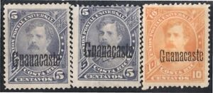 Costa Rica Guanacaste 6/7 + 6a 1887 Bernardo Soto MH