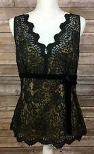 Ann Taylor LOFT NWT Womens V Neck Lace Blouse 10 Black Tan Bow Dressy Casual R6