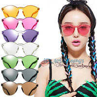 Unisex No Frame Luxury Sunglasses Cat Eye Transparent Glasses Candy Color