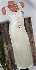 NEU ITALY SOMMER MAXI DRESS BODENLANGES KLEID SCHIMMERND PAILLETTEN SALBEI 36-40