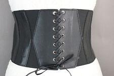 Women Black Elastic Fashion Wide Corset Belt Hip High Waist Faux Leather Hot S M