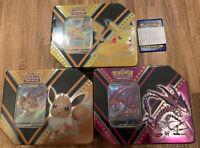 Pokemon TCG V Powers Tin 2020 Pikachu/Eevee/Eternetus/Bundle Factory Sealed!