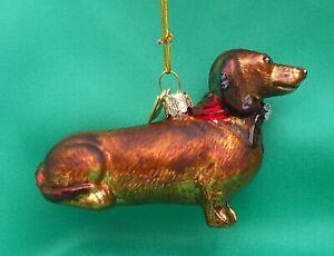 Kurt Adler Noble Gems Glass Christmas Tree Decoration Dog - DACHSHUND