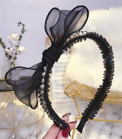 Women Girl Retro Black bow Lace Ribbon Pearl Party Headband Hair head band hoop