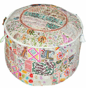 "18"" Bohemian Patchwork Pouf Ottoman in White Vintage Indian Pouf"