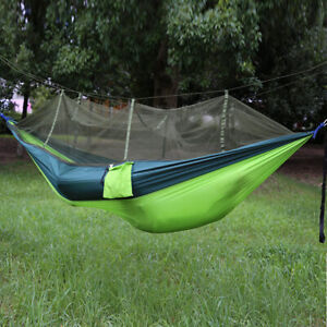 Protable Outdoor Hammock Parachute Cloth Hanging Bed with Mosquito Net Portable