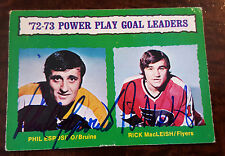 1973-74 OPC POWER PLAY GOAL LEADERS CARD SIGNED PHIL ESPOSITO RICK MACLEISH 138