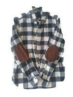 Gap Mens Buffalo Plaid Flannel Shirt Long Sleeve Button Up Elbow Patches Medium