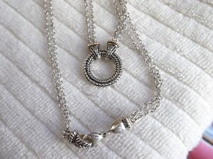 Andrea Candela CJI Sterling Silver 925 & 14k DIAMOND Necklace Pendant